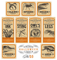 Funny vintage Halloween apothecary labels - set 03 vector image
