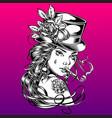 girl hat rose retro smoke drawing vector image