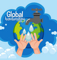 global hand washing day logo with water from tap vector image vector image