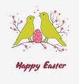 greeting card or for easter with two birds and vector image