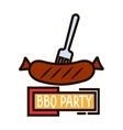 Grilled sausage on barbecue fork thin line symbol vector image vector image