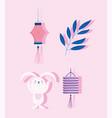 happy mid autumn festival rabbit lantern branch vector image vector image