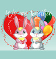 happy valentines day love card a pair cute vector image vector image
