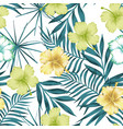 lime green hibiscus on blue leaves seamless vector image vector image