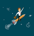 man in suit flying on a rocket to the stars vector image vector image