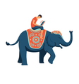 man on elephant vector image vector image