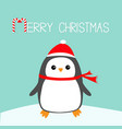 merry christmas candy cane text kawaii penguin vector image vector image