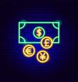 money exchange neon sign vector image vector image