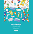 online pharmacy ad poster template with colorful vector image
