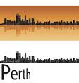 Perth skyline in orange background vector image vector image