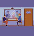 police interrogation room interior with cartoon vector image vector image