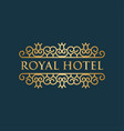 royal hotel luxury logo design inspiration in vector image