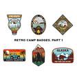 set of retro wanderlust logos emblems vintage vector image vector image