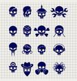 skull icons on notebook page vector image vector image
