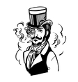 Steampunk man in top hat and glasses with the vector image