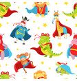 superhero animals seamless pattern cute baby vector image