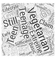 The Teenage Vegetarian Word Cloud Concept vector image vector image