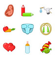 toddler icons set cartoon style vector image vector image