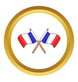 Two crossed Flags of France icon vector image vector image