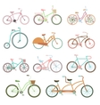Vintage bicycle set riding bike transport flat vector image vector image