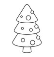 xmas fir tree icon outline style vector image