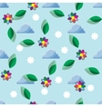 seamless background with clouds and flowers vector image