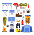 equipment for hiking and climbing camping or vector image