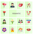 14 romantic flat icons set isolated on white vector image vector image