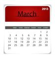 2013 calendar March vector image vector image