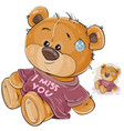 a brown teddy bear dressed vector image vector image