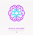 ai or machine learning thin line icon vector image