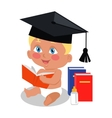 Baby Sitting on Floor with Big Book in Square Cap vector image vector image