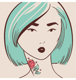 beautiful woman with tattoo hand drawn vector image