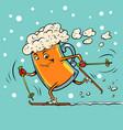beer mug runs on skis vector image