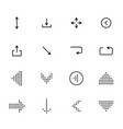 black arrows icon set pointers for navigation vector image
