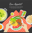 bon appetit banner template top view person vector image