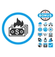 Burn Banknotes Flat Icon with Bonus vector image vector image