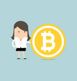 businesswoman with a bitcoin vector image vector image