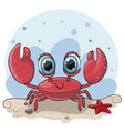 cartoon crab on beach vector image vector image