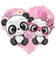 cartoon pandas on a heart background vector image vector image
