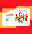 christmas factory website banner vector image vector image