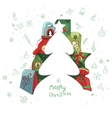 Christmas template with fir tree and gift boxes vector image vector image