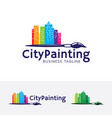 city painting logo design vector image vector image