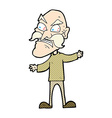 comic cartoon angry old man vector image vector image