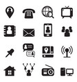 contact icon set vector image vector image
