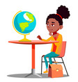 curious girl sitting at the table and looking at vector image