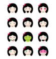 cute emoji collection kawaii asian girl face vector image