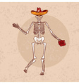 dancing skeleton in sombrero with flower grunge vector image vector image