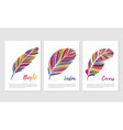 feathers with vibrant color posters set vector image vector image