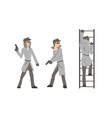 funny cartoon private detective character is vector image
